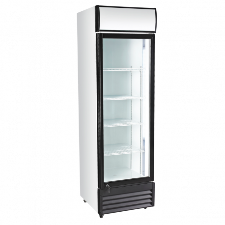 Réfrigérateur en position verticale exposante
