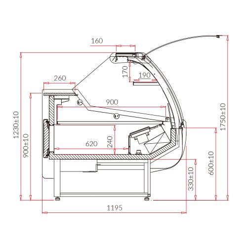 Vitrina charcutería XL curva