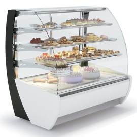 Exhibiting pastry display case