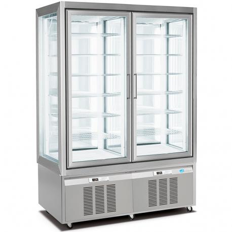 double freezer pastry display cabinet