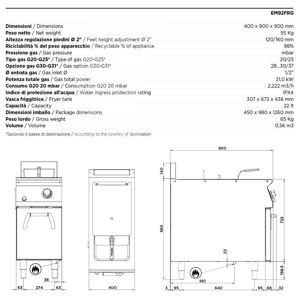 Freidora gas 22 l freidoras industriales cocina for Cacerolas industriales