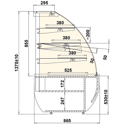 Pastry display case neutral curve 1.4m