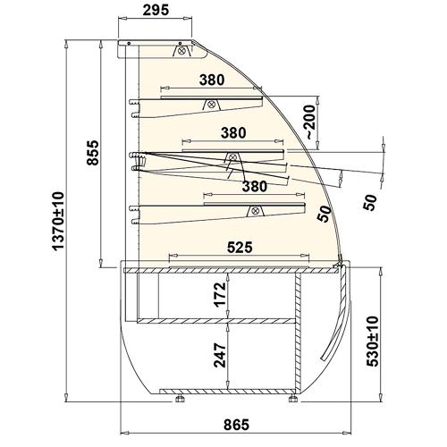 Vitrina pastelería curva neutra 1,4m