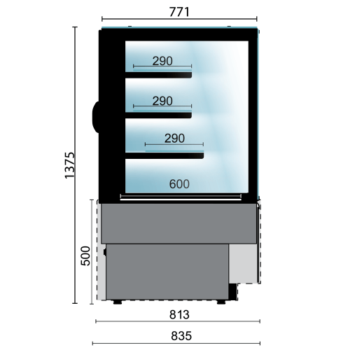 straight refrigerated display glass