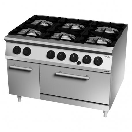 Cocina gas 6 fuegos con horno GN 1/1