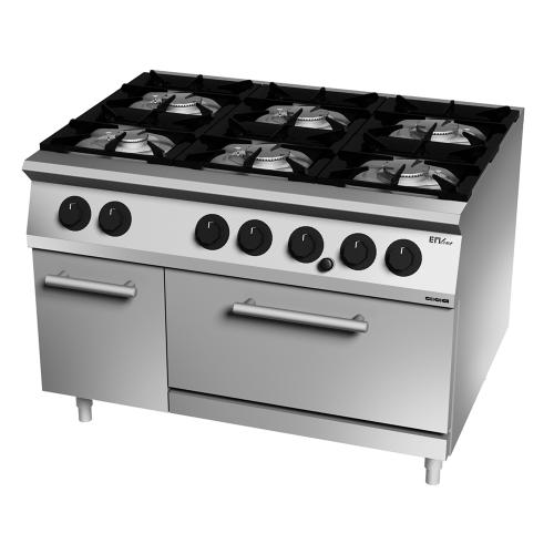 Cocina gas 6 fuegos con horno GN 2/1