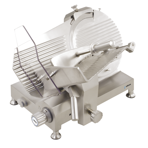 Commercial meat slicer with gears