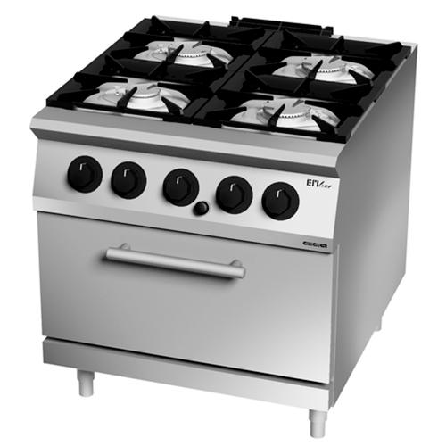Cocina gas 4 fuegos con horno GN 2/1