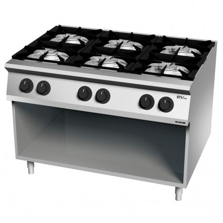 Cocina 6 fuegos gas 900