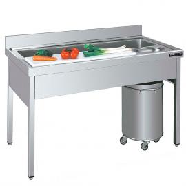Plonge - table inox pour préparation de légumes