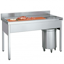 Plonge - table inox pour préparation de viandes et poissons