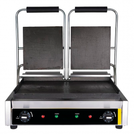 Electric grill double smooth plates