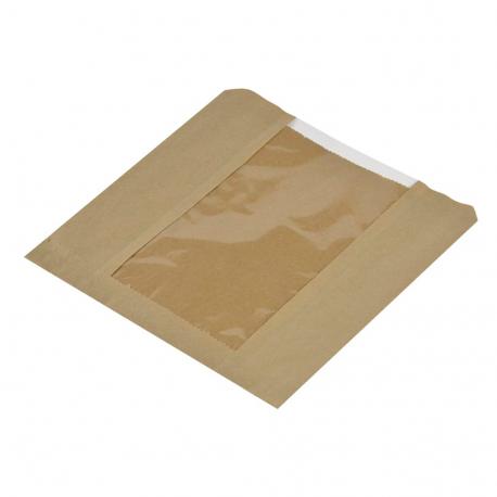 Bolsa desechable papel kraft pequeña con ventanilla Pack de 1000 uds.