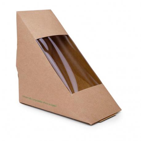 Caixa compostable per sandvitx paper kraft Vegware (Caixa 500)