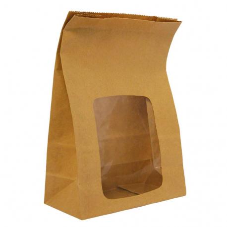 Bolsa papel kraft desechable con ventanilla (Pack de 250 uds.)