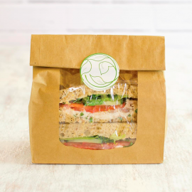 Vegware Compostable Kraft Fully-Lined Sandwich Bags With NatureFlex Window (Pack of 250)