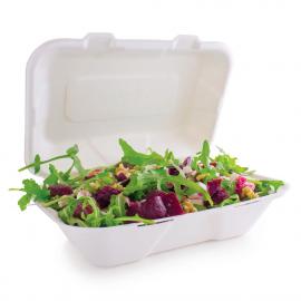 Boîtes repas en bagasse compostables avec couvercle à charnière Vegware 228mm