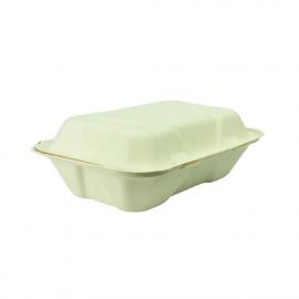 Envase compostable abatible de bagazo para comida (Pack de 200 uds.)