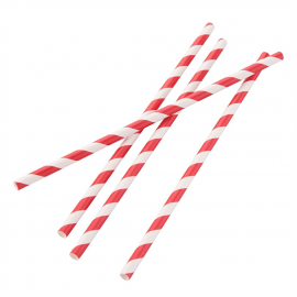 Compostable Paper Straws Red Stripes (Pack of 250)