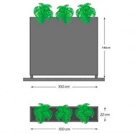 Jardinière moyenne avec verre pour terrasses
