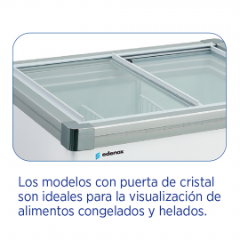 Arcón congelador horizontal con puertas de cristal