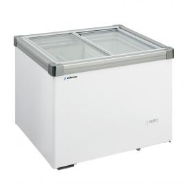 Horizontal freezer chest with glass doors